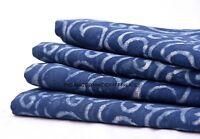 Indian Handmade Indigo Blue printed Fabric hand Block print Cotton Dress fabric
