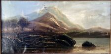 "Antique Oil Painting On Board Signed G.L.Franklin Gd/Cond 29x17"" Landscape/Lake"