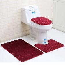3Pcs Bathroom Non-Slip Solid Color Pedestal Rug+Lid Toilet Cover+Bath Mat-Red