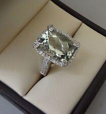 14K WHITE GOLD 6 CARAT FANCY CUT GREEN AMETHYST DIAMOND PAVE HALO RING - 6.7 GR