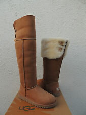 UGG CHESTNUT OVER THE KNEE BAILEY BUTTON SHEEPSKIN BOOTS, US 9/ EUR 40 ~NIB