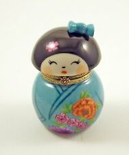 New ListingNew French Limoges Trinket Box Japanese Kokeshi Doll In Blue Floral Outfit