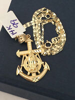 14k yellow Gold Small Ship Anchor Virgin Mary Charm Pendant Gucci Chain