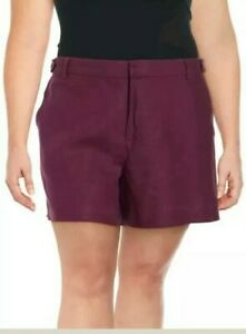 Lord & Taylor Womens Linen Shorts Mulberry 100% Linen Plus Size 24W NWT