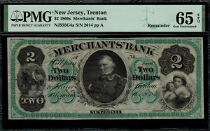 1860's $2 Obsolete - Trenton, New Jersey - Graded PMG 65 EPQ - Merchants' Bank