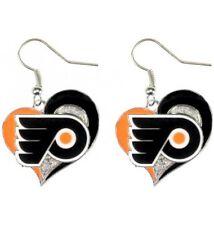 PHILADELPHIA FLYERS - SWIRL HEART LOGO - DANGLE EARRINGS BRAND NEW NHL-ER-245-11