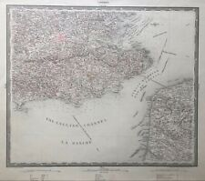 1833 Antique map: South east England & French Coast-  Bartholomäus Herder/ Woerl