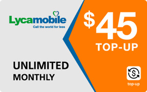 Lyca Mobile  Prepaid $45 Refill Top-Up Prepaid Card ,PIN / RECHARGE/ REFILL