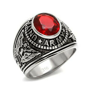 MEN'S ENGRAVED STAINLESS STEEL RED CZ USA ARMY MILITARY VETERAN RING SIZE 8-14