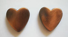 2 Acrylic Heart Beads - Metallized Copper Colour - 24mm