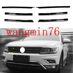 For Volkswagen Tiguan 2017-2021 Black ABS Front Center Mesh Grille Grill Trim