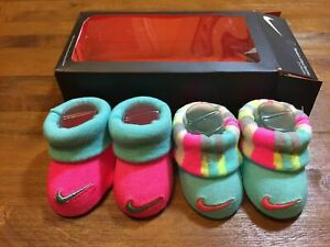 NIKE NEWBORN INFANT BOOTIES - 2 PAIR PACK 0-6 MONTHS (pink/blue) NEW IN BOX