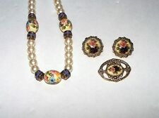 60s VINTAGE Jewelry FLOWER CAMEO EARRINGS NECKLACE BROOCH