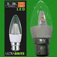 2x 3W LED Ultra Low Energy, Instant On, Clear Candle Light Bulbs, BC, B22 Lamps