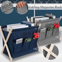 Wood Folding Magazine Rack Newspaper Holder Organiser Stand Desk Office