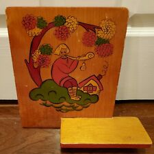 Vintage Mid Century 60s 70s Wood Shelf Wall Hanging Folk Art Handmade Colorful