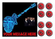 FOO FIGHTERS  BIRTHDAY    ICE/ ICING  SQUARE 7.5 ins + 8  TOPPERS PERSONALISED