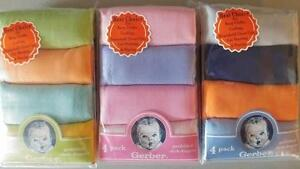 New Gerber 4 pk Solid Cloth Diapers, Baby Shower, Burp cloth