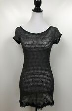 Free People Top Small Gray Charcoal Black faux leather Trims And Lace