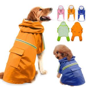Small Large Dog Rain Coats Waterproof Rainwear Reflective Jacket Hoodie Clothes