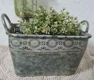 Flowerpot Metal Oval Planter Bowl Plant Pot Vintage