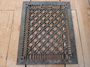 Vtg antique cast iron Victorian home floor heat vent grate register ornate