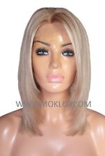 "Remy Human Hair Wig Front Lace 14"" Medium Light Brown Blonde 9 60 Highlights UK"