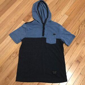 Marc Ecko Cut & Sew Hooded T-shirt Short Sleeve Tee Men's Size Medium Blue Hood