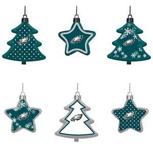 Philadelphia Eagles Shatterproof TREES & STARS Christmas Tree Ornaments 6 pack
