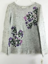 Style & Co Womens Femme Fusion Grey Embroidered Pullover Sweater Small $59.50