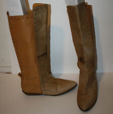VINTAGE Boots 6 6.5 Light Brown Leather Pony Hair Fur Flat Stitch Detail