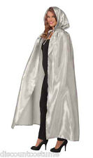 FANCY MASQUERADE SILVER SATIN HOODED EXTRA LONG CAPE HALLOWEEN COSTUME ACCESSORY