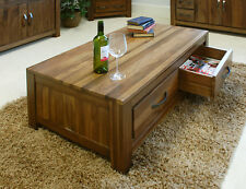 Mayan Solid Walnut Low Four Drawer Coffee Table From Baumhaus