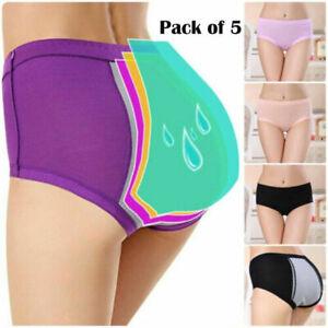 5 Pack Womens Period Panties Girls Cotton Leakproof Menstrual Pants Underwear UK