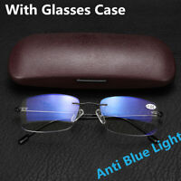 Anti-blue Light Progressive Multifocal Lens Rimless Reading Glasses Presbyopia
