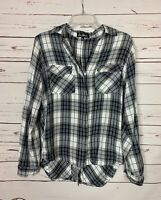 Sam Edelman Women's M Medium Black White Plaid Long Sleeve Cute Spring Top Shirt