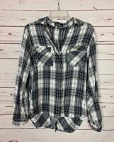 Sam Edelman Women's M Medium White Black Plaid Button Long Sleeve Cute Top Shirt