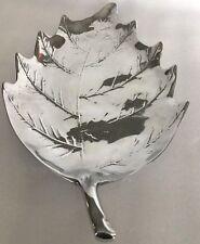 "VTG MARIPOSA BRILLANTE ALUMINUM LEAF Large SERVING Plate DISH PLATTER TRAY 16"""