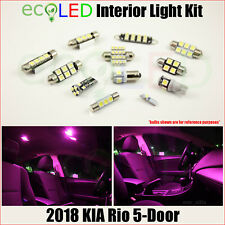 For 2018 Kia Rio 5-Door PINK Interior LED Light Accessories Package Kit 9 Bulbs