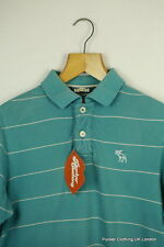 Abercrombie Camisa Polo Para Hombre Vintage Rayas Azul Medio Shabby Musculoso Fit P47