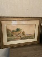 Vintage Farm Scene With Figures Watercolor, Early 1900's.