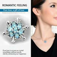 Frauen Silber Gefrorene Schneeflocke Halskette Strass Kristall Anhänger Kette Sc