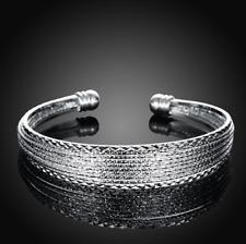 Womens 925 Sterling Silver Diamond-Cut Pattern Ball End Cuff Bracelet #BR390