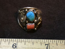 Vintage silver Old Pawn Turquoise & Coral ring  size 9.5 forged not cast