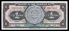 Banco de Mexico 1 Peso Aztec Calendar 1-IX-43 Serie R, M4635e / BKM-18. AU