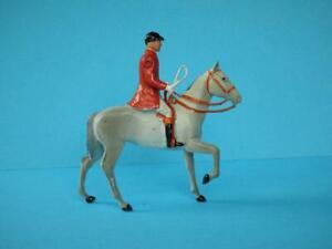 BRITAINS RARE VINTAGE LEAD HUNT SERIES MOUNTED HUNTSMAN #608 ON WHITE HORSE
