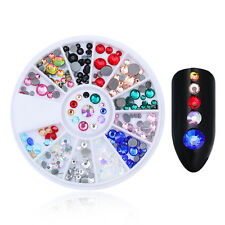3D Nail Decoration In Wheel Flat Bottom Round Multi-size Rhinestones Manicure