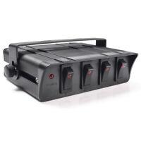 4 Gang Rocker Switch Panel Box with LED LIght Indicator for Vehicle Boat 12-24V