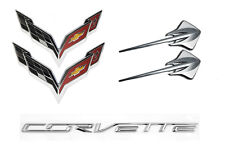 2014-2019 C7 Corvette Chrome Emblem 5pc Set - Flags Stingrays & Bumper Letters
