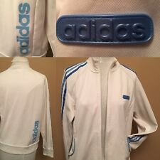 Adidas SZ M White 3 Blue Stripes Women  Full Zip Active Track Light Jacket